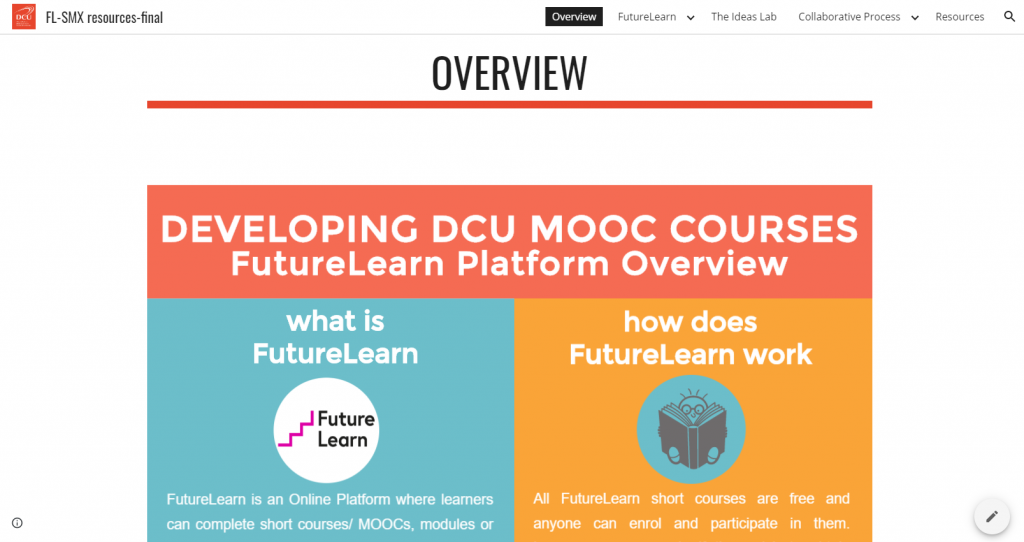 Google site for SMEs working on Future Learn MOOCs