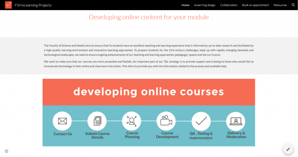 Google site for academic staff at the FSH informing about the eLearning design process