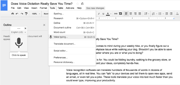 the screenshot of the google voice typing dictation -